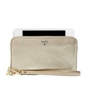 Fossil Sydney Gold Textured Leather Wristlet